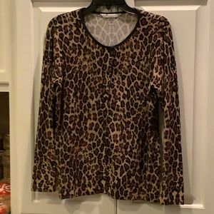 Ladies Animal Print Cardigan Sweater
